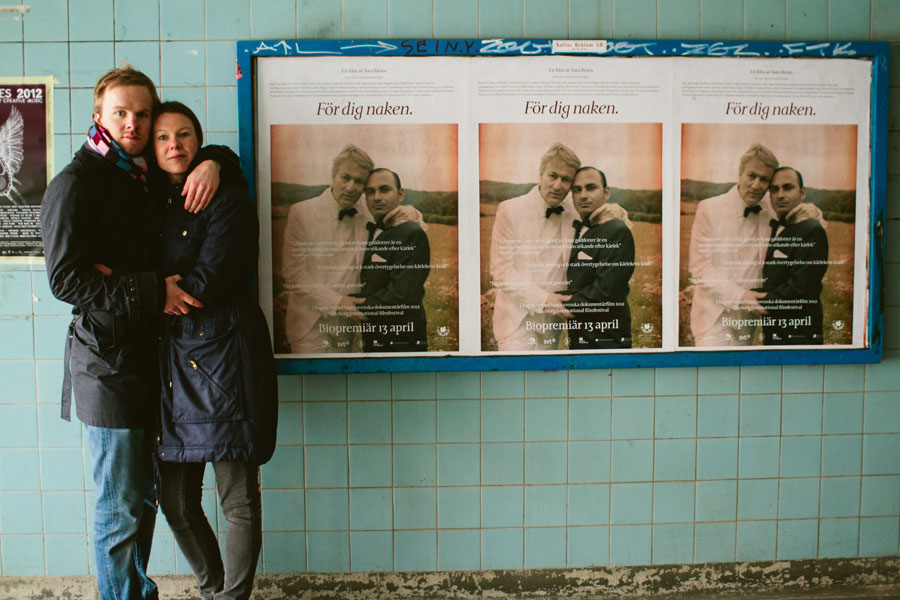 Johanna och Lars pre shoot i Slussen